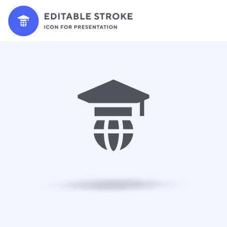 Graduation icon vector, filled flat sign, solid pictogram isolated on white, logo illustration. Graduation icon for presentation. Ilustração