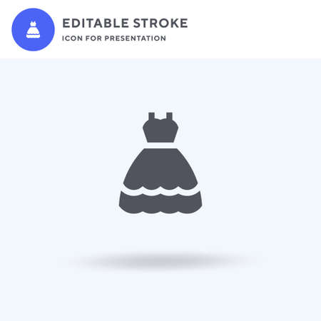 Bride Dress icon vector, filled flat sign, solid pictogram isolated on white, logo illustration. Bride Dress icon for presentation.