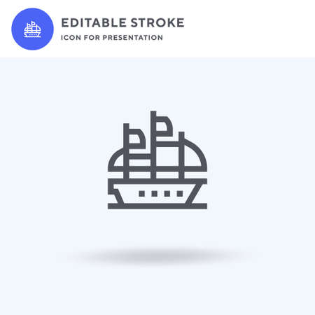 Galleon icon vector, filled flat sign, solid pictogram isolated on white, logo illustration. Galleon icon for presentation.