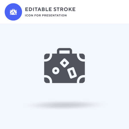 Travel Bag icon vector, filled flat sign, solid pictogram isolated on white, logo illustration. Travel Bag icon for presentation.