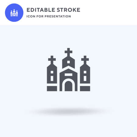 Church icon vector, filled flat sign, solid pictogram isolated on white, logo illustration. Church icon for presentation.