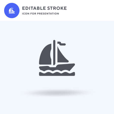 Boat icon vector, filled flat sign, solid pictogram isolated on white, logo illustration. Boat icon for presentation. Illustration