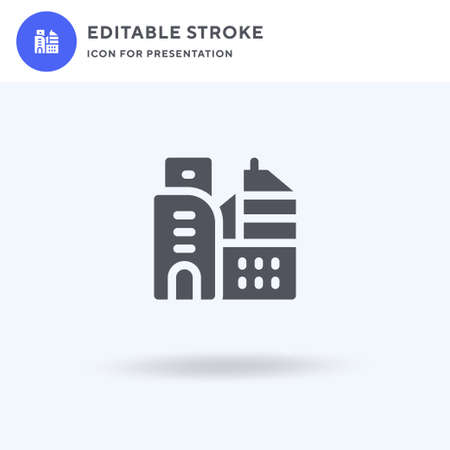 Buildings icon vector, filled flat sign, solid pictogram isolated on white, logo illustration. Buildings icon for presentation.  イラスト・ベクター素材