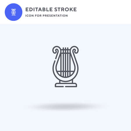 Lyre icon vector, filled flat sign, solid pictogram isolated on white, logo illustration. Lyre icon for presentation. Vettoriali