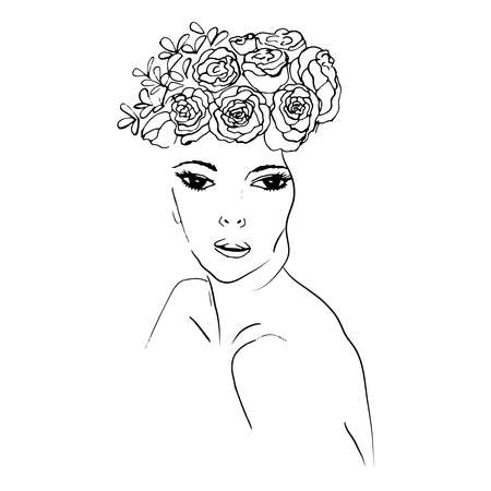 Silhouette of a girl with flowers on her head, a symbol of the nature of cosmetics. Face with flowers. Vector line.