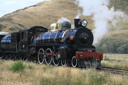 brass rod: The days of steam in New Zealand Stock Photo