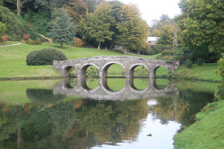 stourhead: Reflection of bridge in an English Garden