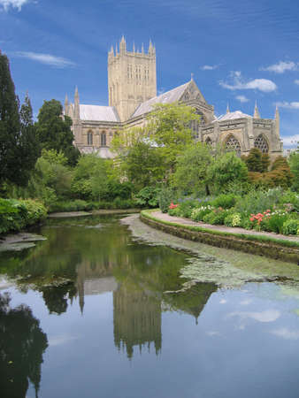 Medival cathedral over natural springs (wells), Wells, England photo