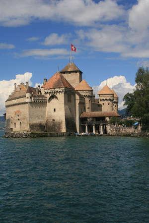 leman: Chillon Castle on the shores of Lake Geneva (Lac Leman)