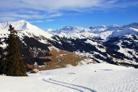 gstaad: Mountain vista in the Swiss Alps near Gstaad,Switzerland Stock Photo