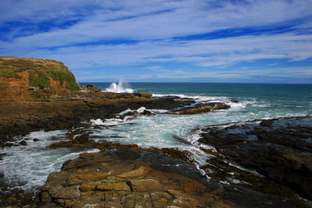 curio: Seascape, at the Curio Bay petrified forest, New Zealand Stock Photo