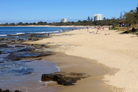 queensland: Sweeping beach vista, Mooloolaba, Queensland, New Zealand Editorial