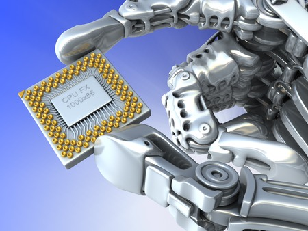 Closeup Robot arm with fantasy Chip or processor. High technology 3d illustration