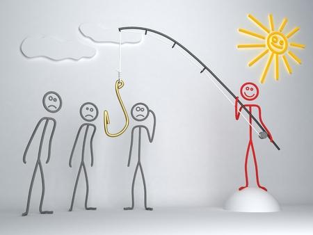 Konzept Illustration. Führer mit Angelrute sucht seine Anhänger Standard-Bild - 36597227