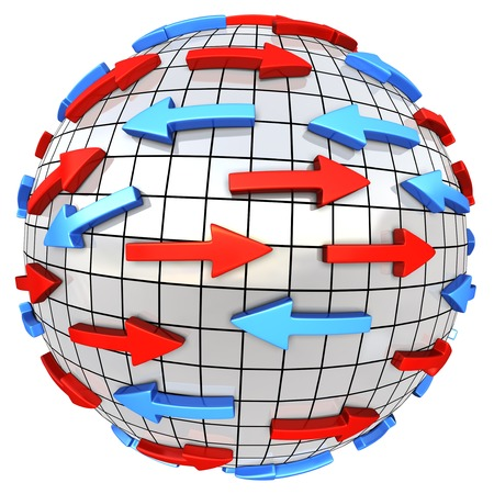 Red and blue arrows on abstract globe. Arrows moves in different direction. Conceptual 3d illustration