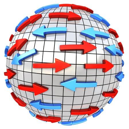 Rode en blauwe pijlen op abstracte wereld. Pijlen beweegt in andere richting. Conceptuele 3d illustratie Stockfoto