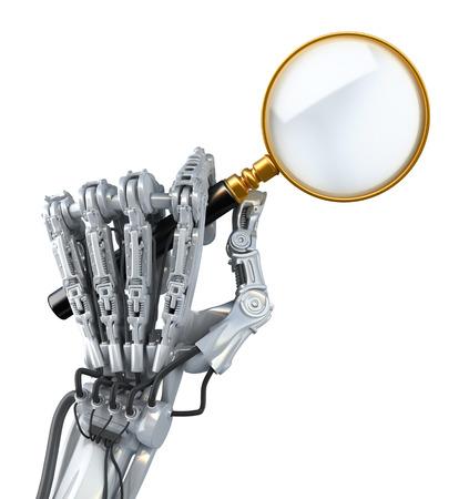 Close-up robotarm. Robot zoekt abstracte informatie en gebruikt vergrootglas. Conceptuele High Technology 3d illustratie