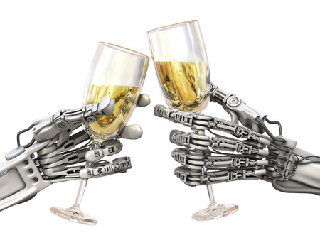 High Technology New Year or Christmas. Two robots keeps wineglasses