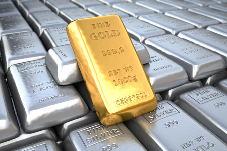 Investment in Silver and gold bullions. Finance - economic 3d illustration