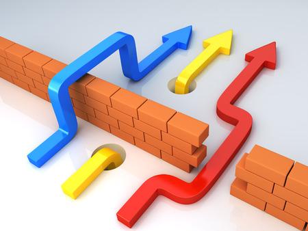Zakelijke overwint hindernissen aanbrengen van andere strategie. Multicolor pijlen gaat over bakstenen muur. Conceptuele 3d illustratie