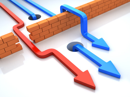 비즈니스는 다른 전략을 적용하는 장애물을 극복한다. 여러 가지 빛깔의 화살표 벽돌 벽을 가로 질러 간다. 개념적 3D 그림 스톡 콘텐츠 - 36597817