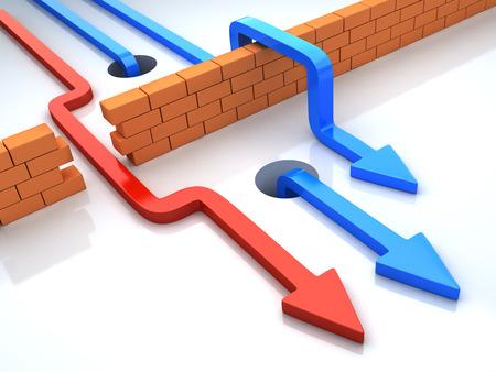 Affaires surmonte des obstacles appliquant stratégie différente. Flèches multicolores va dans le mur de briques. 3d illustration conceptuelle