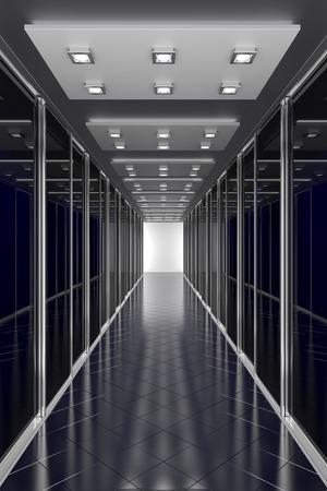 Zwarte kleur gang in het kantoor van het centrum of een andere moderne gebouw. Architectuur 3d illustratie Stockfoto