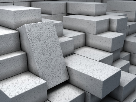 Closeup white bricks at warehouse.  Construction materials. Industrial 3d Illustration