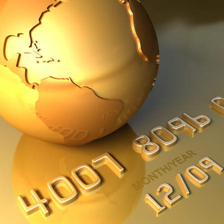 Abstract international gold credit card and golden globe. Business travel 3d illustration 写真素材