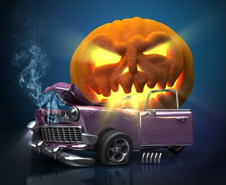 Giant monster pompoen verpletterde een auto. Halloween 3D-afbeelding