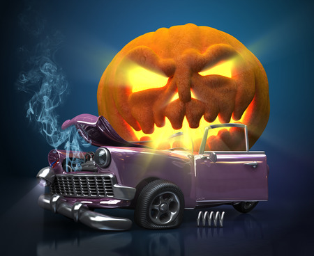 Giant monster pumpkin crushed a car. Halloween 3d illustration Imagens - 36597899