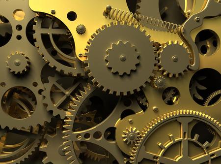 Klok binnen. Close-up gouden uurwerk. Industriële 3d illustratie