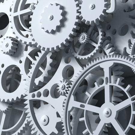 Fantasie uurwerk of een onderdeel van een machine. Close-up versnellingen. Industriële 3D-afbeelding.