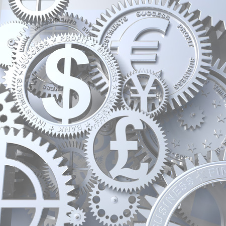 Zeit-Geld. Konzeptionelle Business 3D-Darstellung. Silber Uhrwerks mit Getriebe wie Währungssymbol. Euro, Dollar, Yen, Pfund Standard-Bild - 36597912