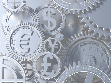 Time-money. Conceptual business 3d illustration. Silver clockwork with currency sign on gears. Euro, Dollar, Yen, Pound