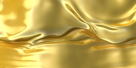 Abstract golden cloth background. Fantasy liquid metallic material. 3d illustration 写真素材