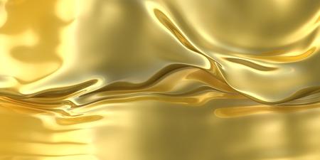 Abstracte gouden doek achtergrond. Fantasie vloeibare metalen materiaal. 3d illustratie