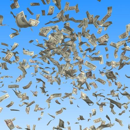 Flying and falling dollar bills on blue background. Finance 3d illustration