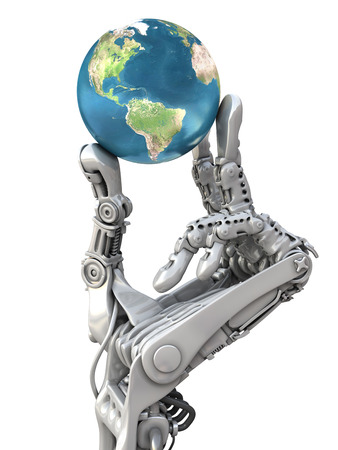 Robot holding the blue globe. The Earth planet in hands at high technology. Conceptual 3d illustration Standard-Bild