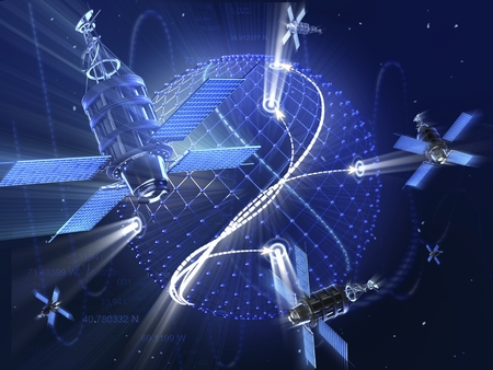 GPS or surveillance satellite system around the Earth. High technology 3d illustration.