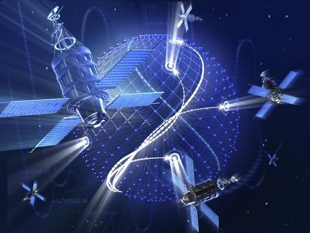 지구 주위 GPS 또는 감시 위성 시스템. 첨단 기술 3D 그림입니다. 스톡 콘텐츠