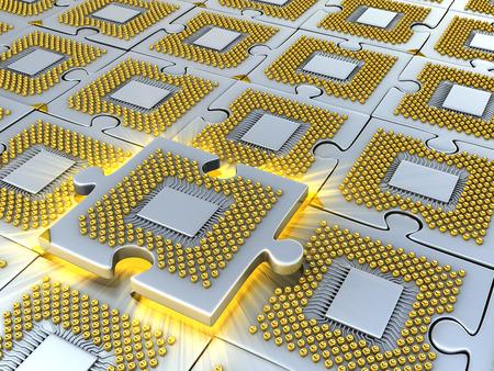 Puzzel gemaakt van de fantasie CPU. Conceptuele en technologie 3D-afbeelding Stockfoto