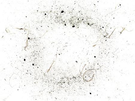 Stof en vuil op een witte achtergrond