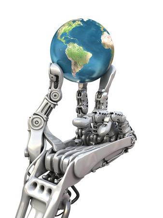 Robot die de blauwe wereldbol. De planeet van de aarde in handen bij hoogwaardige technologie. Conceptuele 3d illustratie