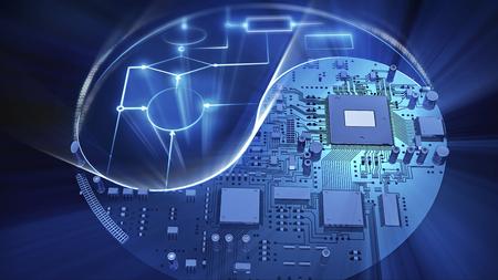 Yin-Yang-Symbol der Mainboard gemacht und glühende elektrische Schema. High-Tech-Konzept Standard-Bild - 36598170