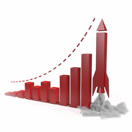 Metaphorical growing business chart with a rocket going up. concept 3d illustration on white background