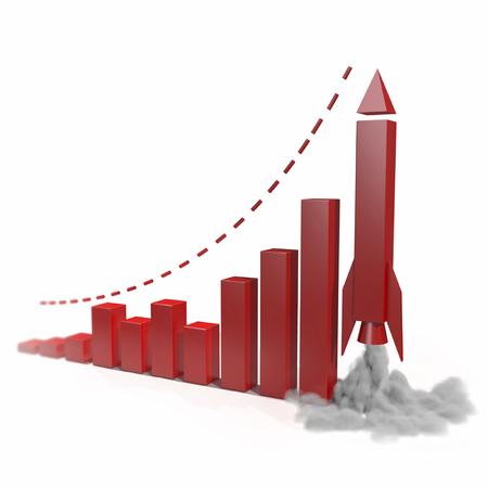 Metaforische groeiend bedrijf grafiek met een raket omhoog gaan. concept 3D-afbeelding op een witte achtergrond Stockfoto