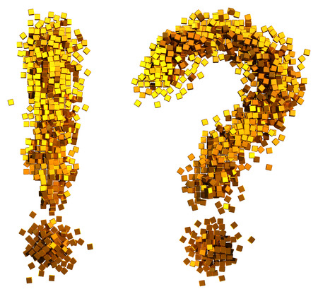 Glamour  question mark, exclamation mark made of gold cubes. Clipping path added. Imagens