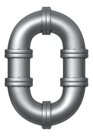 Metallic stainless alphabet. Industrial number 0 made of pipes. Added clipping path