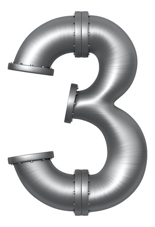 Metallic stainless alphabet. Industrial number 3 made of pipes. Added clipping path